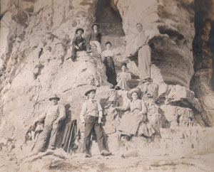 Family photo at Black Hawk Rock, late 1800's