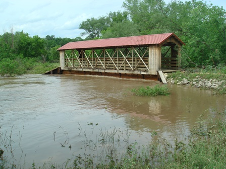 Flood waters at the base of Bridge 18, June 2008