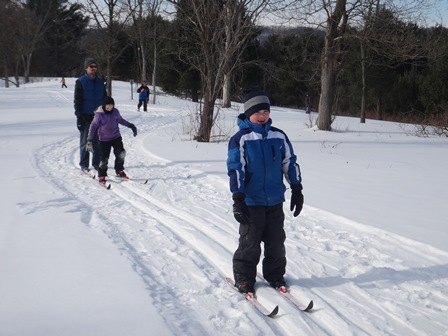 Youth ski club testing their skills